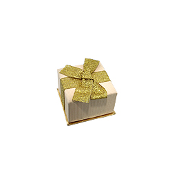 Beige Earrings Box with Gold Bow