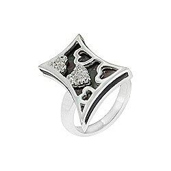 Sterling Silver and Black Mother of Pearl Filigree Hearts Ring with White CZ
