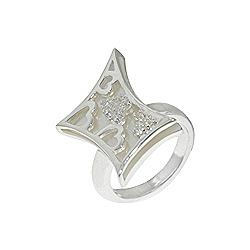 Sterling Silver and White Mother of Pearl Filigree Hearts Ring with White CZ