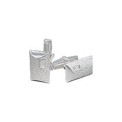 Sterling Silver Wrinkled Rectangle Cuff Link with White CZ