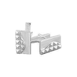 Sterling Silver Rectangular Cuff Link with Spikes