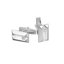 Sterling Silver Split Rectangle Cuff Link with White CZ