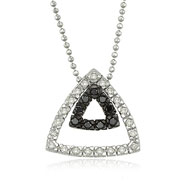 14K White Gold Black & White Diamond Triangle Necklace