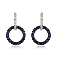 14K White Gold Diamond & Blue Sapphire Circle Earrings