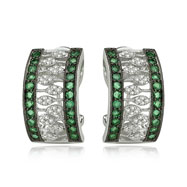 14K White Gold Emerald & Diamond Shapes Earrings