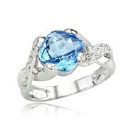 Cushion Cut Blue Topaz With White Gold Diamond Ring