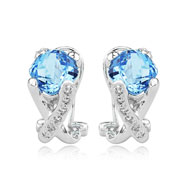 Cushion Cut Blue Topaz With White Gold Diamond Earrings