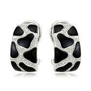 14K White Gold Diamond & Onyx Earrings