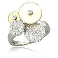 14K Two-Tone Gold & Diamond Circle Designs Ring