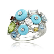 Turquoise Color Stones Diamond Ring