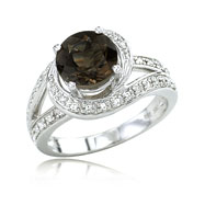 14K White Gold Smoky Topaz & Diamond Split Shank Circle Ring