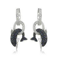 14K White Gold Blue Sapphire & Diamond Dolphin Earrings