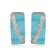 Reconstructed Turquoise And Diamond Earrings