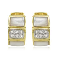 14K Yellow Gold Mother of Pearl & Diamond Block Earrings