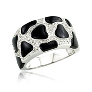 14K White Gold Diamond & Onyx Ring