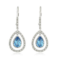 14K White Gold Blue Topaz & Diamond Dangle Earrings