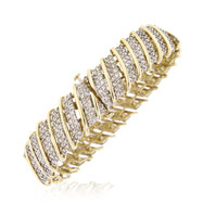 14K Yellow Gold & Diagonal Diamond Ladies