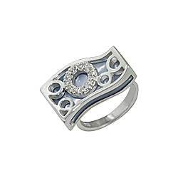 Sterling Silver and Blue Mother of Pearl Filigree Wave Ring with White CZ
