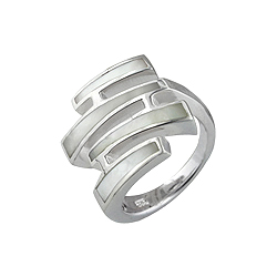 Sterling Silver Four Lines Ring with White Mother of Pearl