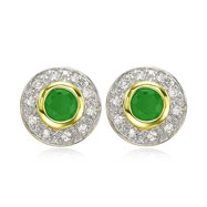 14K Yellow Gold Round Emerald & Diamond Circle Post Earrings