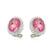 Pink Topaz With Diamond Earrings