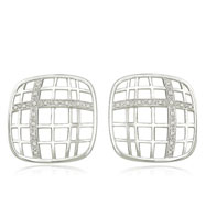 14K White Gold & Diamond Thin Basketweave Design Earrings