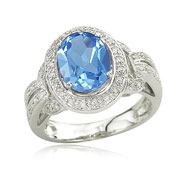 Blue Topaz With Diamond Ring