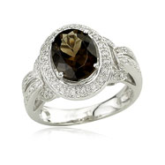 Smoky Topaz With Diamond Ring