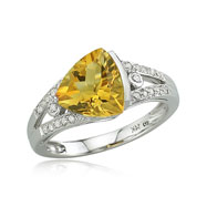 14K White Gold Trillion Cut Citrine & Diamond Split Shank Ring