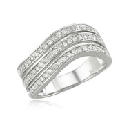 14K White Gold Wavy Sections Diamond Ring
