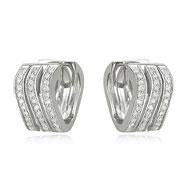 14K White Gold Wavy Sections Diamond Earrings