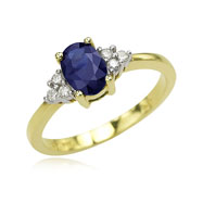14K Yellow Gold Oval Sapphire & Round Diamond Cluster Ring