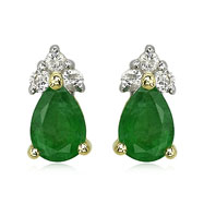Pear Emerald And Diamond Earrings