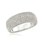 14K White Gold Five Row Diamond Ring