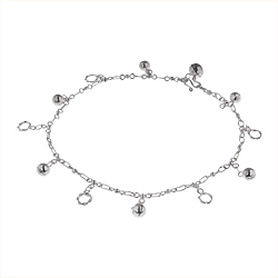 Sterling Silver Balls and Circles Charms Anklet