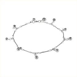 Sterling Silver Sticks Anklet With Ball Charms