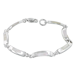 Sterling Silver Curved Links Bracelet with White Mother of Pearl