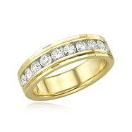 14K .75ct Round Channel Set Diamond Wedding Band