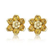 14K Yellow Gold Citrine Flower Earrings