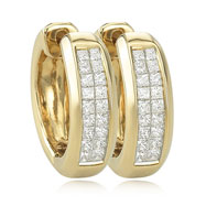 Princess Cut Diamond Hoop Earring