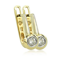 14K Yellow Gold 1/4ct Bezel Set Diamond Hinged Earrings