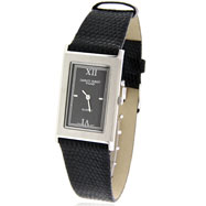 Unisex Charles Hubert Lizard Band Black Dial Watch