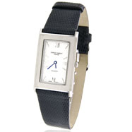 Unisex Charles Hubert Lizard Band Silver-White Dial Watch