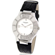 Unisex Charles Hubert Leather Band White Dial Watch