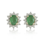 14K Yellow Gold Oval Emerald & 1/4ct Diamond Trim Earrings