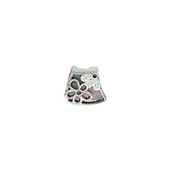 Sterling Silver and Black Mother of Pearl Filigree Flower Pendant with White CZ