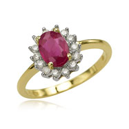 14K Yellow Gold Oval Ruby & 1/5ct Diamond Trim Ring