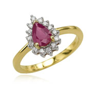 Pear Ruby And Diamond Ring