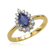 Pear Sapphire And Diamond Ring