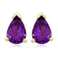 Pear Shape Purple Amethyst Prong Set Studs